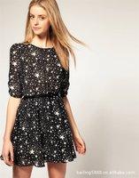 Женское платье 2012 Hot sale, Europe style fashion pretty star chiffion dress, ladies one-piece dress, belt not included, S/M/L