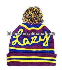 Custom logo Funky Neon Nepal Hat,Neon Winter Hats,Bobble Hat Colourful Winter Bobble