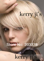 Парик из искусственных волос New Styllish Wig-Super Natural Cheap Medium Straight Blond Bob Wig 10pcs/lot