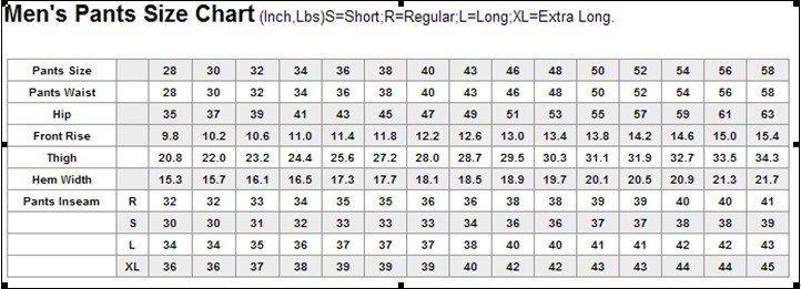 Mens dress coat size chart