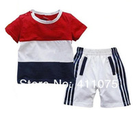 IN STOCK   New Arrival short sleeve t-shirt + shorts baby Boy clothing sets children Leisure suit kids sports wear 3 sets/lot