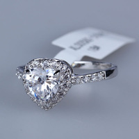 R037  Heart Crystal Gold Ring 18K Platinum Plated Made with Genuine Austrian Crystals Full Sizes Wholesale