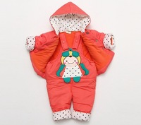 Комплект одежды для девочек 2012 Toddler Girl's Winter Clothes Sets Cotton-padded Thickening Jacket Hoodie+bodysuit 2PC Set 1-3T