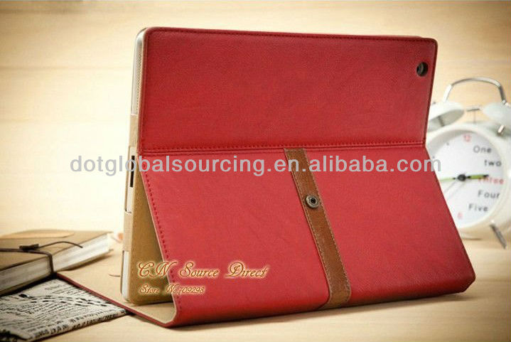 Cheap New Business PU Leather Case for iPad 4 3 2 Stand case for iPad Mini New Smart cover with buckle fashion design