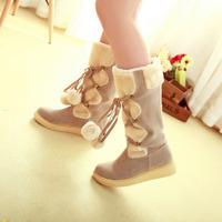 Мода сексуальные зимой теленка снега сапоги женщин теплый мех Осенняя Женская обувь большого размера