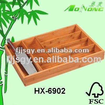 bamboo knife drawer, knife organizer