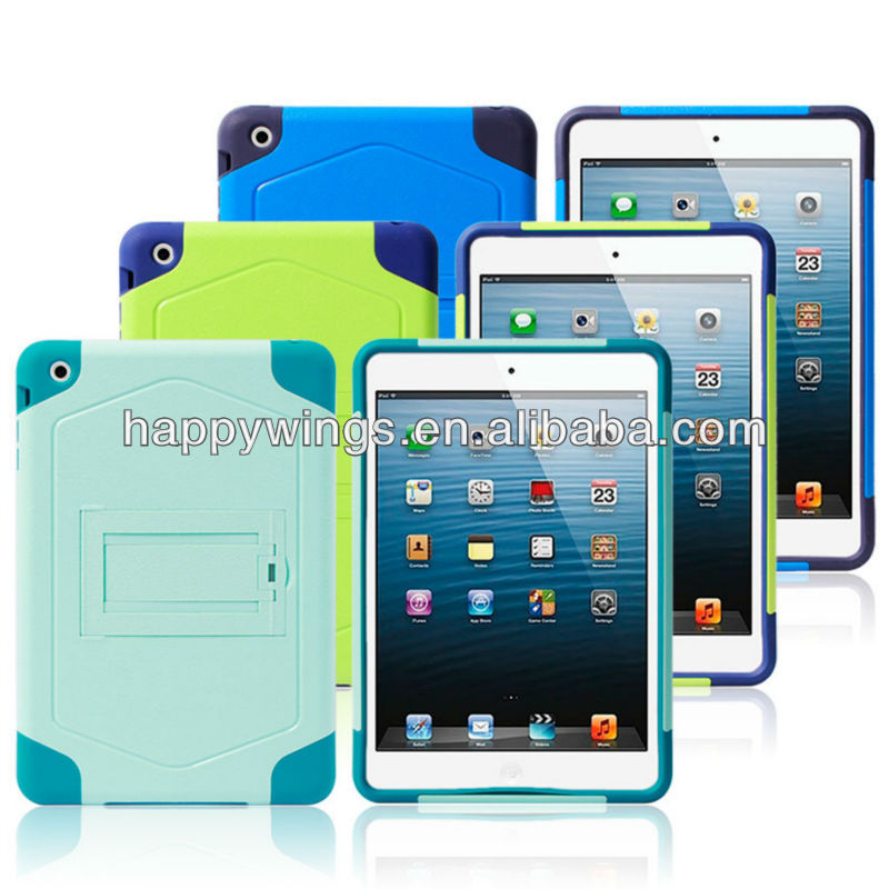 PC+Silicone hybrid hard combo case for IPAD MINI with kickstand