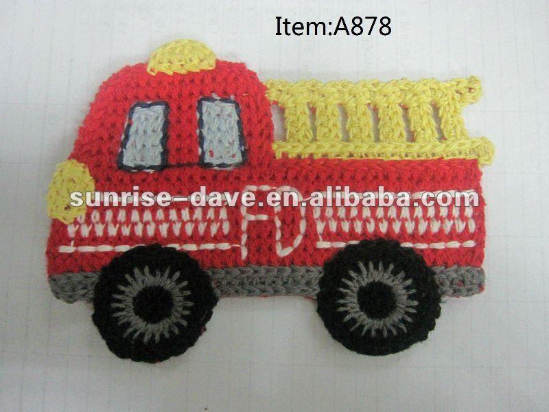 Вышивка пожарная машина патч, Вязание крючком автобус аппликация