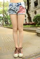 Wholesale Price Fashion Stars Stripes US Flag Classical Summer Denim Shorts Free Shipping