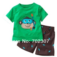 Комплект одежды для мальчиков Boy cartoon monkey pattern short sleeve t shirt +pants 2pcs sets boy clothing 6sets/lot CD28
