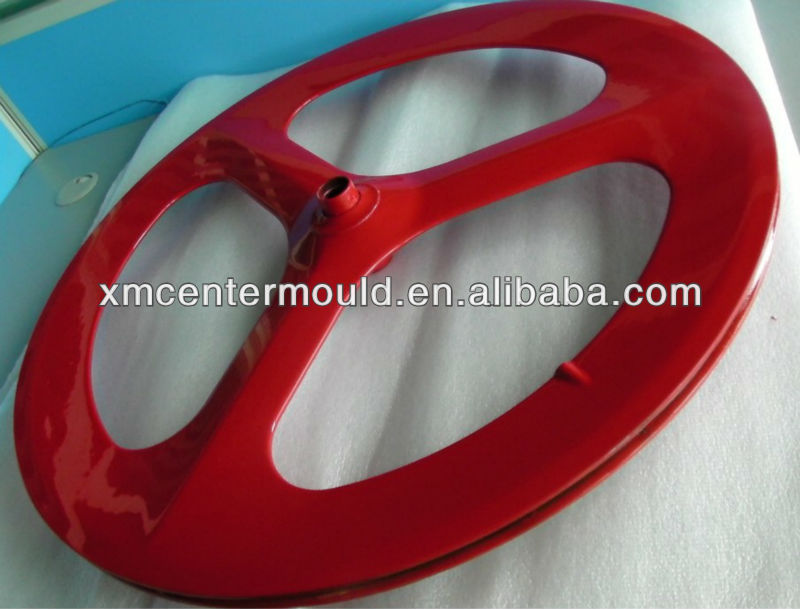 clincher three spoke carbon wheel 70mm, glossy finish red painted UD carbon road bicycle wheel
