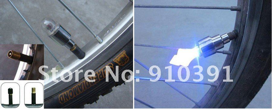 Free shipping colorful LED wheel light for Automobiles & Motorcycles valve core flashing as car at daytime running light.