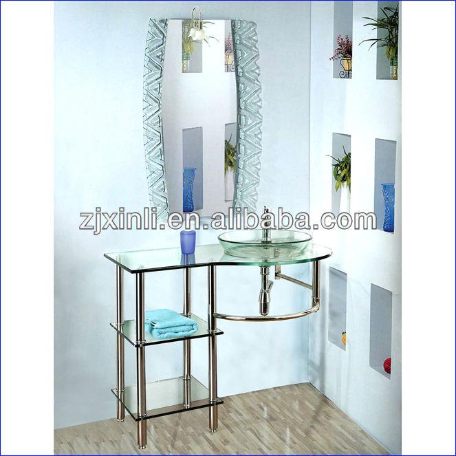Pia Do Banheiro de Vidro Temperado de alta Qualidade, transparente de Vidro c -> Pia Do Banheiro De Vidro