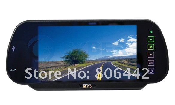 7&quot; TFT LCD Color Screen Car Monitor Rearview Mirror Camera W/ SD USB MP5 FM Free Shipping