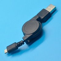Retractable USB Male to Micro USB Transfer & Charging Data Sync Cable Black y549
