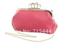 Вечерняя сумка 2012 hot women's shoulder bag, PU crocodile pattern handbag, clutch bag skull handbag, chain Messenger Bag