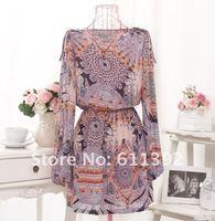 Высший сорт Звездный стиль Гавайи стиль новая мода национальный стиль печати женщин шифон платья, 1 цвет бесплатно размер