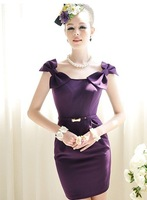 Женское платье S-L manufacturers supply sexy Women's Purple Slim temperament bow dress #C940