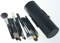 Free shipping! 2012 NEW Arrival ! 13pcs Makeup Brush Set in Round Black High Quality Leather Case