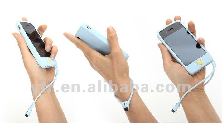 Silicon Pen Case Chain for iphone 4 4S Back Cover with Touchpad Pen with Retail Package