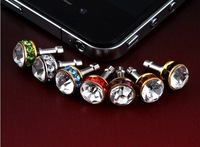 HK post 30pc Crystal gemstone plug Diamond ball Bling phone plug Dustproof Stopper Ear Jack Cap for iphone 4 4S ST-0076a