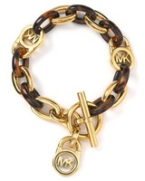 Браслет из нержавеющей стали Michael Gold And Brown Plated Logo Lock Charm Bracelets with tag Jewelry Women Bangle [ for1 pcs