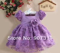 holiday sale christmas gift 4pcs/lot  girl fashion dress baby party dress kid flower dress baby clothing