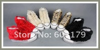 Женские кеды Drop shipping Ladies Shoes.fur Casual thick soles Shoes.black/red/beige/leopard fashion girl's Sneakers 2036