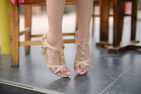 Женские сандалии summer fashion leisure sweet flowers wedges patent leather high heel sandals women sandals