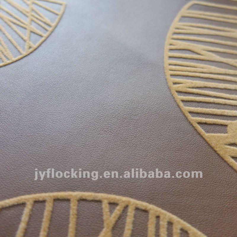 flower design flocking pvc leather for sofa