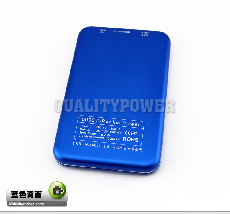 5000mah universal solar charger for mobile phone