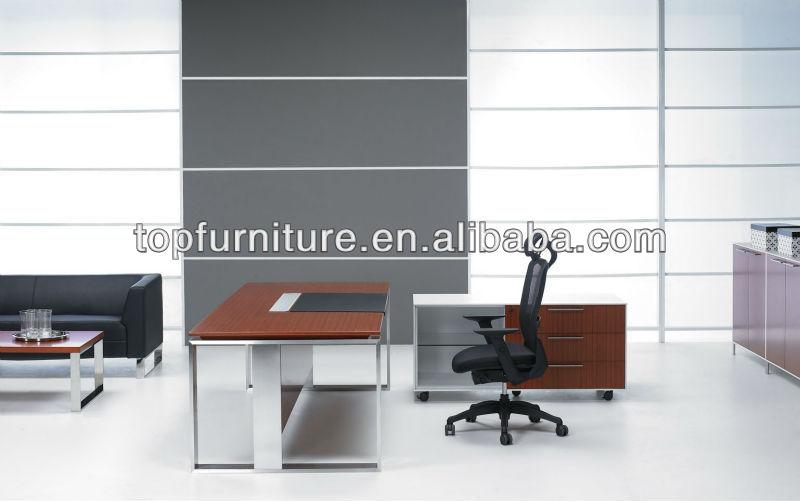 High Class Teak Veneer Office Table with Wooden Top