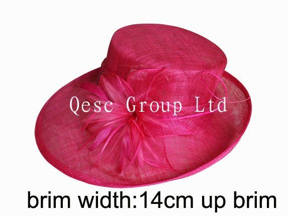 Hot Pink Kentucky Derby  wide brim Hat with Sinamay Leaves Flower and Long Stripped Ostrich Spine, feathers .Ideal for church