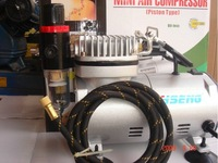 HSENG Mini Air Compressor AS-182, Tankless, Piston & Oil-less Mini Compressor, 1/8 HP