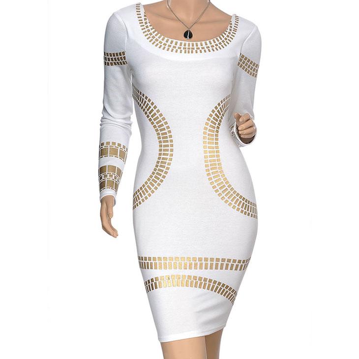 mulheres baratos plus size vestidos nova moda 2014 europeu do vintage sexy manga longa ol padrões geométricos lápis na altura do joelho vestido # 82104467 fotos Produto # 1