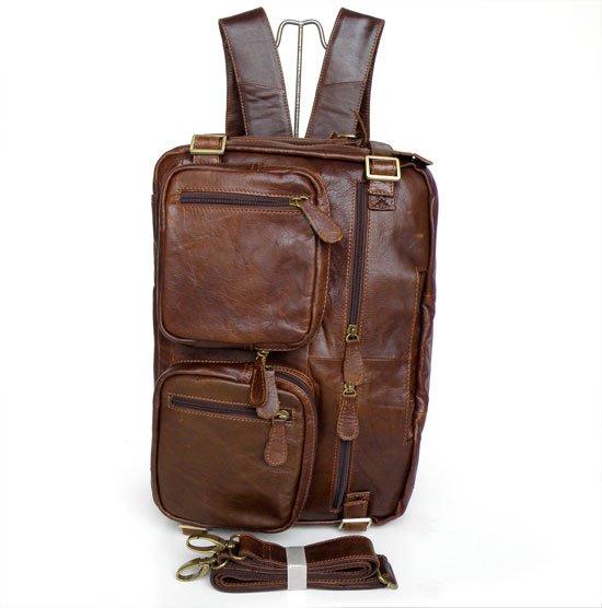 6075 JMD Multi-Purpose Design Vintage Leather Style Men Backpack Bag Briefcases Messenger Bags