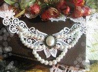 винтажные многослойных бисером кристалл ювелирные изделия белые Лолита кисточкой кружева чокеры ожерелья моды для женщин драгоценности
