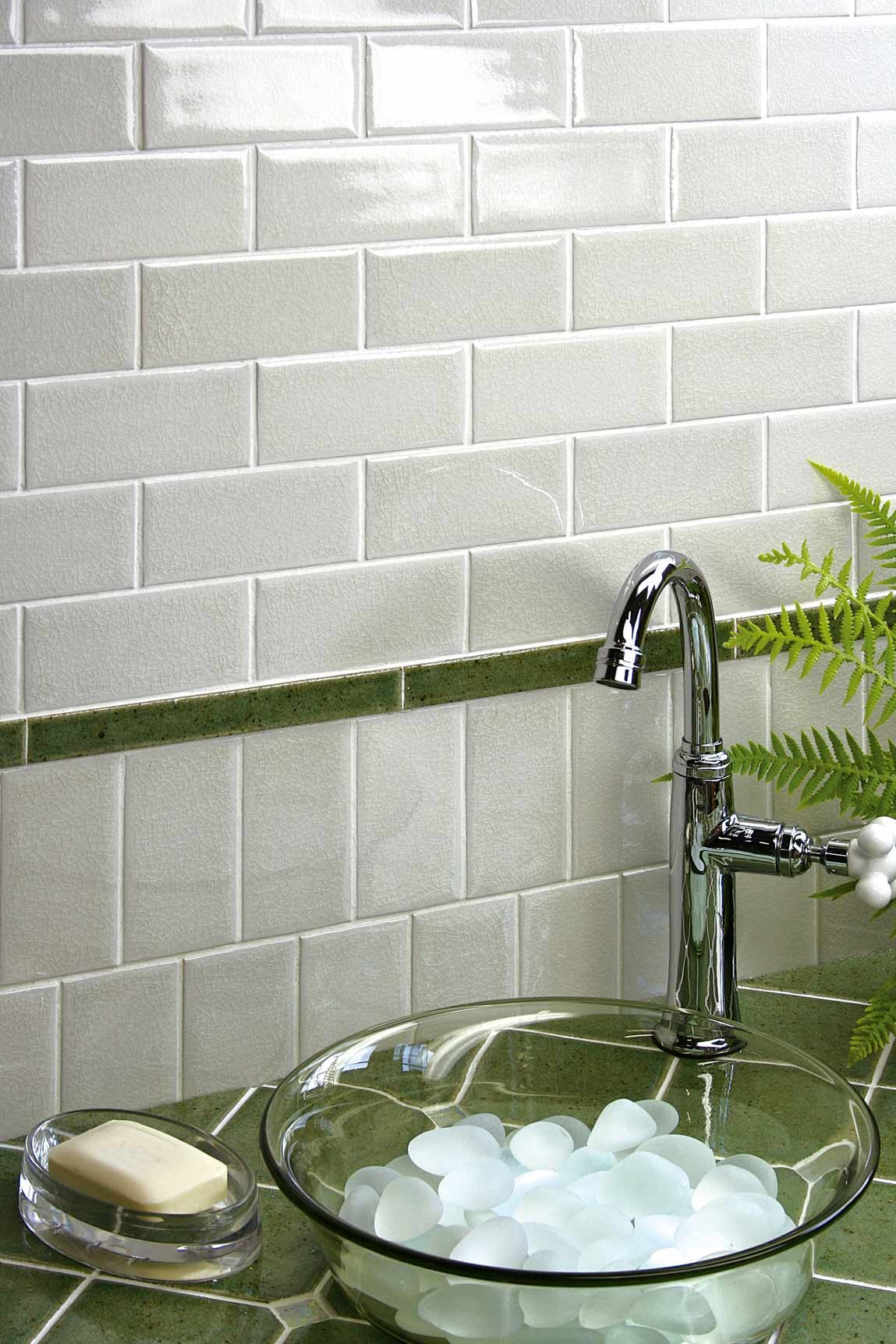 Interior accent wall tile made of ceramic white