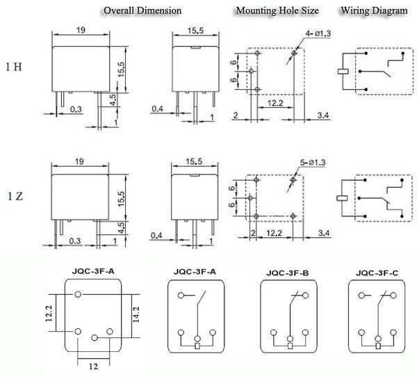 T73 Jqc-3f Pcb Relay 12v 7a 5pin Sugar Cube Relay