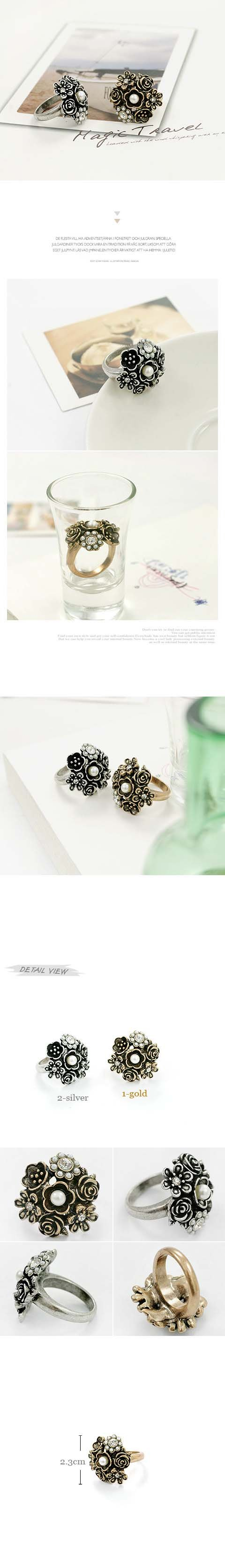 2012 fashion imitation jewelry flower ring+Free Shipping Retro flower ring,Retro ring wholesale #79111,79110,A077
