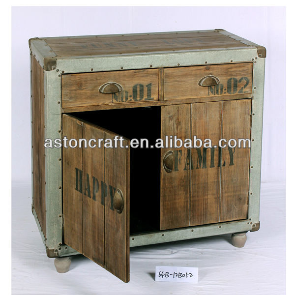 shabby chic wooden cabinet with six drawers