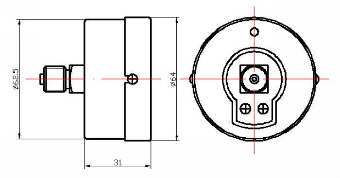 قياس الضغط العام y63d-63mm/ أسود صلب القضية/ الخلفي نوع اتصال مع النحاس