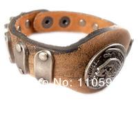 Кожаный браслет handmade high quality punk skeleton skull head rivet belt vintage genuine leather men's Bracelets jewelry bangle