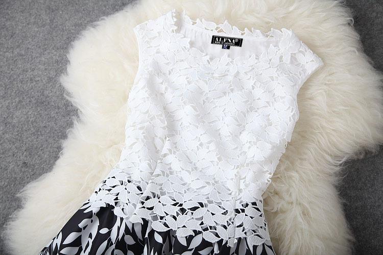 mulheres sem mangas vestido de renda barato imprimir mais mulheres do tamanho veste nova moda verão 2014 passarela vestido # 16173114 fotos Produto # 5