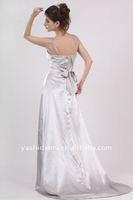 Ravishing Silver Sating Spaghetti Strap Evening Dress Formal Gown women's dress