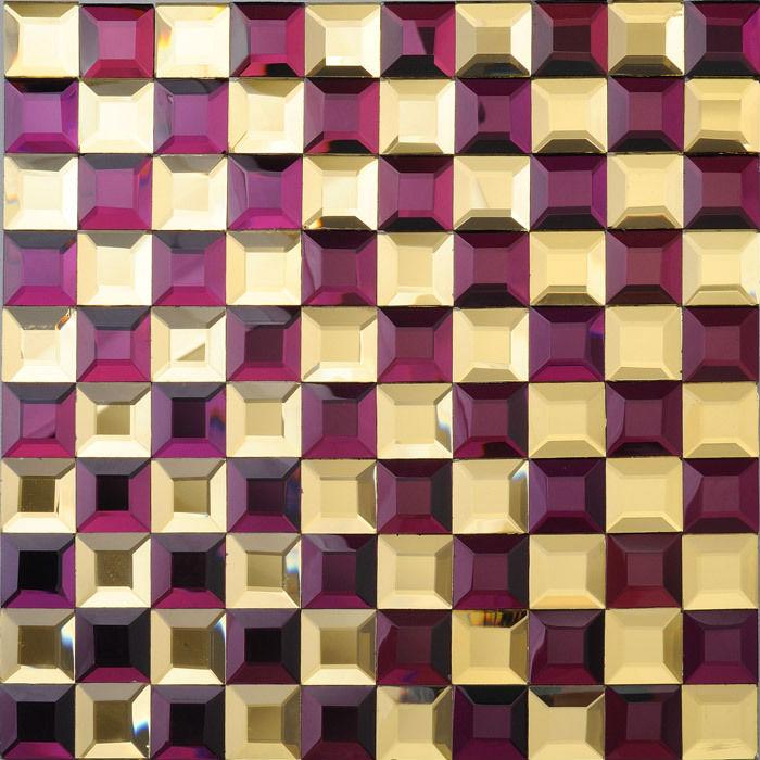 Glass mosaic tile kitchen backsplash purple gold mirror - Purple kitchen wall tiles ...