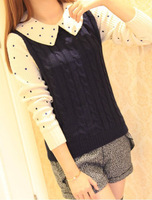 Женский пуловер 2013 autumn and winter women's contrast color wave point long-sleeved knit twist texture sets scalp