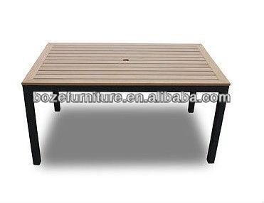 en plein air table en bois avec trou pour parasol carr tables de jardin tables d 39 ext rieur id. Black Bedroom Furniture Sets. Home Design Ideas