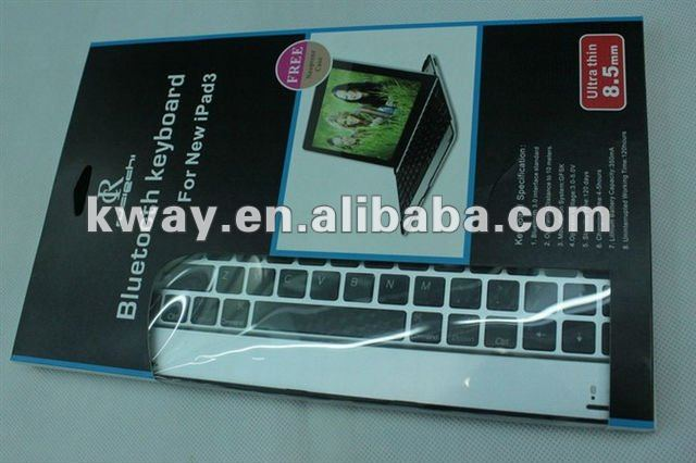 For New iPad (iPad 3) & iPad 2 Ultra-thin Bluetooth Wireless Keyboard With Stand KKB005