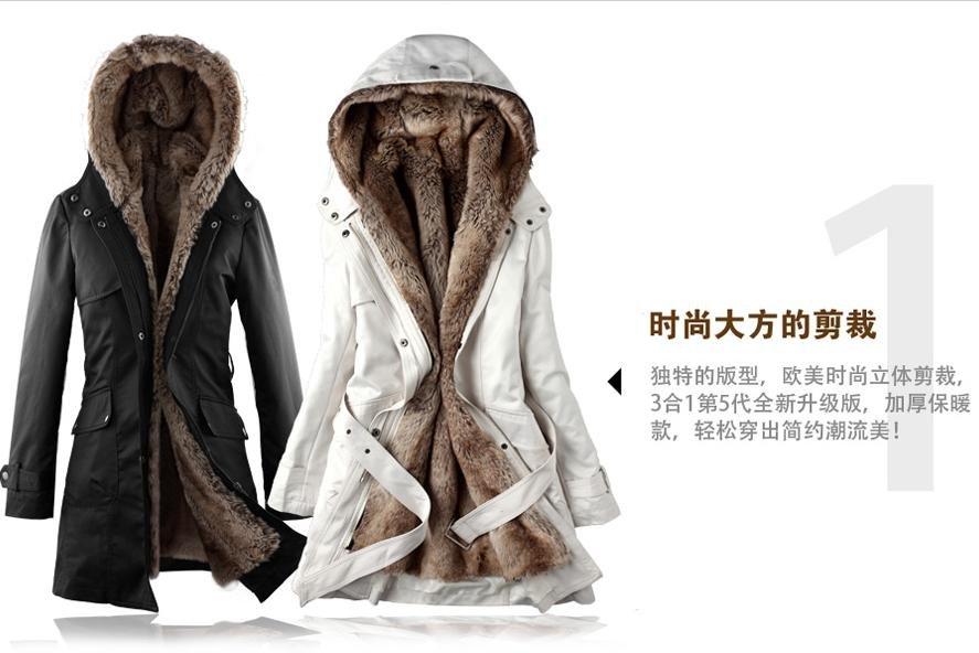 Faux Fur Lining Women's Fur Hoodies Ladies Coats Winter Warm Long ...